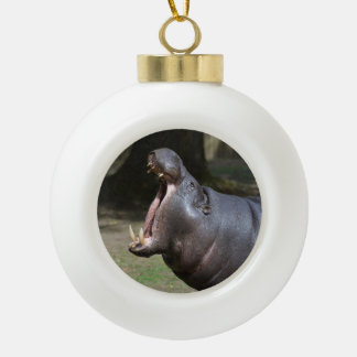 Hippo with His Mouth Open Ceramic Ball Christmas Ornament