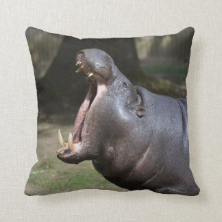 Hippo with His Mouth Open Throw Pillow
