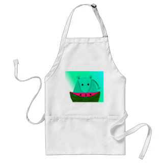 Hippo with Watermelon Slice Adult Apron