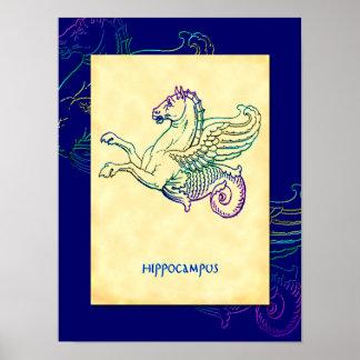 Hippocampus Greek Sea Horse Vintage Art Poster