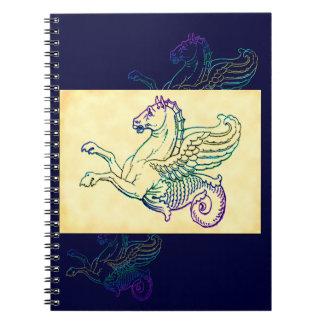Hippocampus Mythical Sea Horse Vintage Art Spiral Notebook
