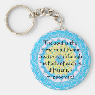 Hippocrates Animal Rights Quote Keychain