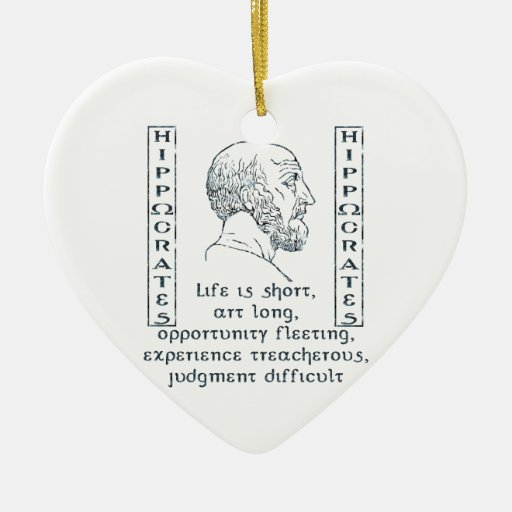 Hippocrates Double-Sided Heart Ceramic Christmas Ornament