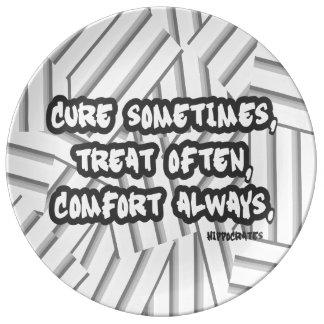 Hippocrates Quote Cure Treat Comfort Porcelain Plate