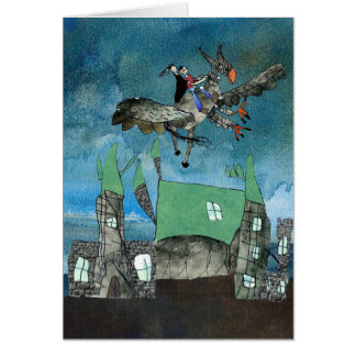 Hippogriff flying over a magical castle greeting cards