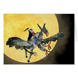 Hippogriff flying over moon. card