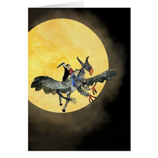 Hippogriff mágico que vuela sobre la luna tarjeta