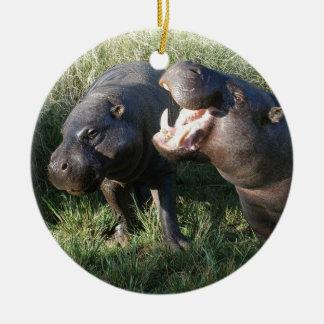 Hippopotamus Adorno Navideño Redondo De Cerámica