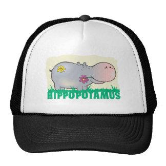 Hippopotamus amistoso del niño gorro de camionero