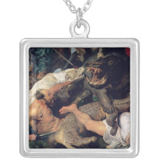 Hippopotamus and Crocodile Hunt, c.1615-16 Silver Plated Necklace