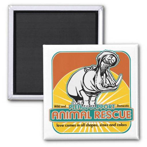 Hippopotamus animal del rescate imán para frigorífico