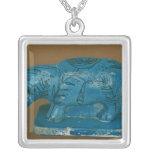 Hippopotamus azul con la decoración negra colgante cuadrado