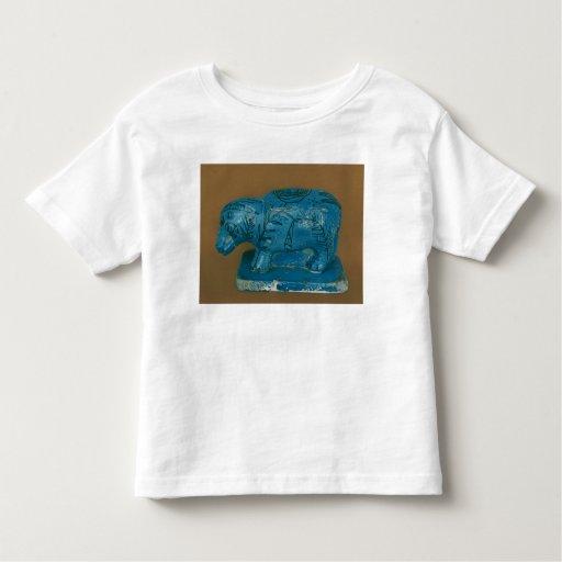 Hippopotamus azul con la decoración negra playera de bebé