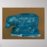Hippopotamus azul con la decoración negra póster