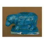 Hippopotamus azul con la decoración negra tarjetas postales