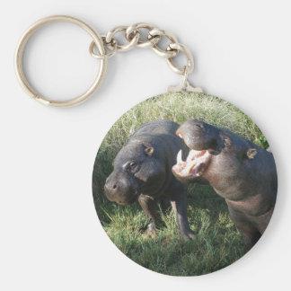 Hippopotamus Basic Round Button Keychain