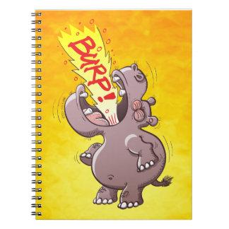 Hippopotamus Burping en alta voz Cuaderno