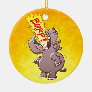 Hippopotamus Burping Loudly Double-Sided Ceramic Round Christmas Ornament