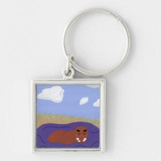 Hippopotamus caprichoso en la charca llaveros personalizados