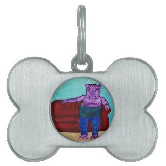 Hippopotamus Cartoon Pet Tag