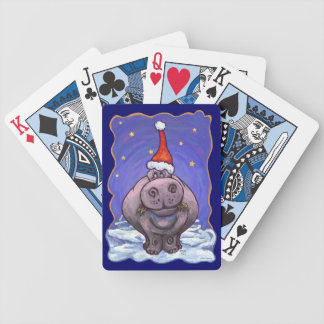 Hippopotamus Christmas Bicycle Playing Cards