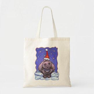 Hippopotamus Christmas Budget Tote Bag