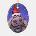 Hippopotamus Christmas Double-Sided Oval Ceramic Christmas Ornament
