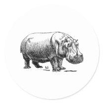 Hippopotamus Classic Round Sticker