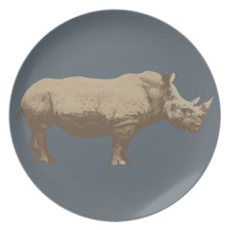 Hippopotamus Cut Out On Blue Background Dinner Plate