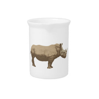 Hippopotamus Cut Out On Blue Background Drink Pitcher