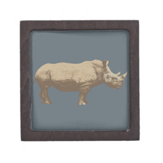 Hippopotamus Cut Out On Blue Background Jewelry Box