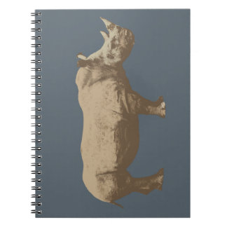 Hippopotamus Cut Out On Blue Background Spiral Notebook