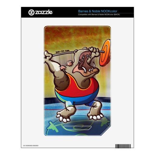 Hippopotamus del levantamiento de pesas calcomanía para NOOK color
