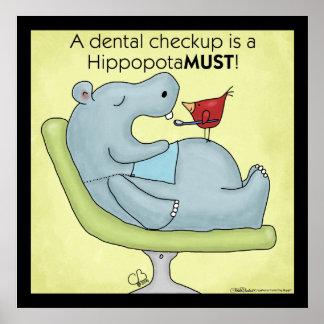 Hippopotamus dental del chequeo póster