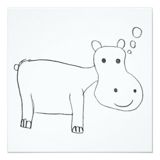 Hippopotamus Drawing in black and white Card