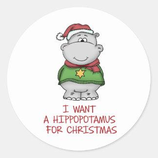 Hippopotamus for Christmas - Cute Hippo Design Classic Round Sticker