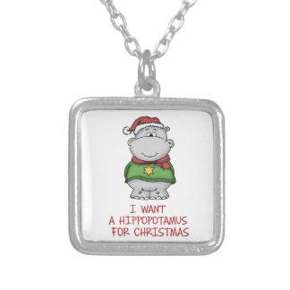 Hippopotamus for Christmas - Cute Hippo Design Custom Necklace