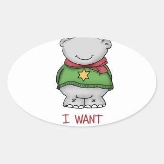 Hippopotamus for Christmas - Cute Hippo Design Oval Sticker