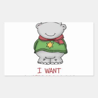 Hippopotamus for Christmas - Cute Hippo Design Rectangular Sticker