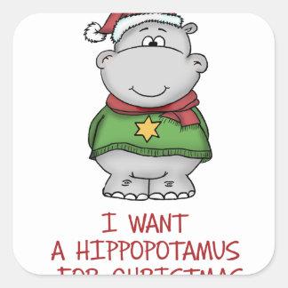 Hippopotamus for Christmas - Cute Hippo Design Square Sticker