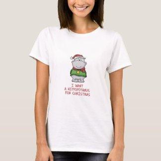 Hippopotamus for Christmas - Cute Hippo Design T-Shirt