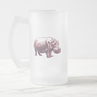 Hippopotamus Frosted Glass Beer Mug