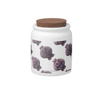 Hippopotamus Heads and Tails Patterns Candy Jars