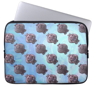 Hippopotamus Heads and Tails Patterns Computer Sleeve