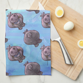 Hippopotamus Heads and Tails Patterns Hand Towel