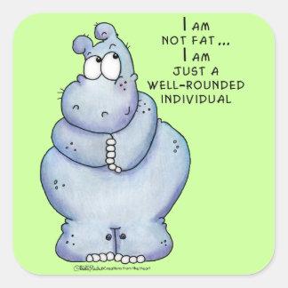Hippopotamus Hipopótamo-Azul versátil Calcomanías Cuadradass Personalizadas