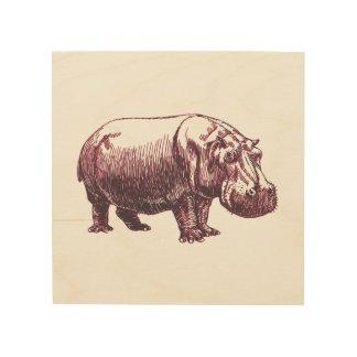 Hippopotamus Cuadro De Madera