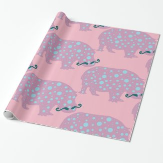 Hippopotamus moustache Glossy Wrapping Paper