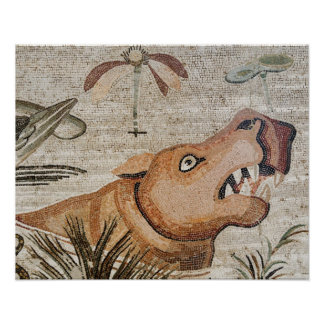 Hippopotamus, Nile mosaic, House of the Faun Poster