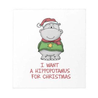 Hippopotamus para el navidad - diseño lindo del blocs de notas